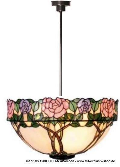 EXTRA-Modell!  50cm ø. TIFFANY-Pendel-Lampe, unsere Serie DAPHNE.  50cm ø. ca. 75cm hoch. 2 x E-27, je 60W.        Meisterklasse = sorgfältig im Glasofen gerundete ausgesuchteTIFFANY-Gläser wurden hier aufwändig für unser Modell DAPHNE zusammengefügt. Die eingearbeiteten Zweige enden im versetzt hergestellten breiten Blütenrand, eine handwerklich sehr schwierige TIFFANY-Herstellung der absoluten Meister-Klasse!