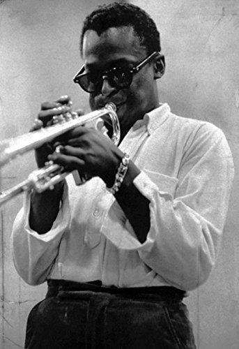 Miles davis poster playing the trumpet kind of blue jazz musician