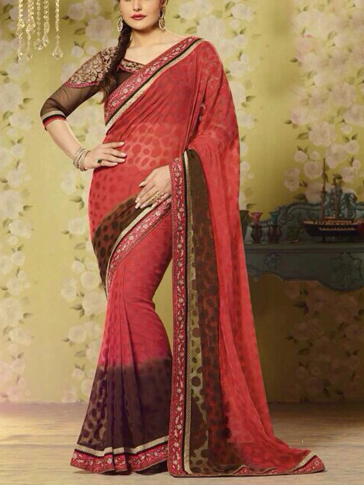 Red Faux Georgette Saree with Brown Blouse