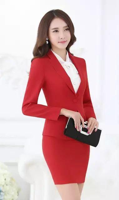 84db1d0218 Formal negro Blazer mujer negocios trajes con falda y Top conjuntos  elegantes señoras Oficina trajes trabajo desgaste uniformes OL estilo