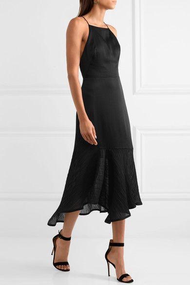 JASON WU Asymmetric plissé chiffon-paneled satin dress