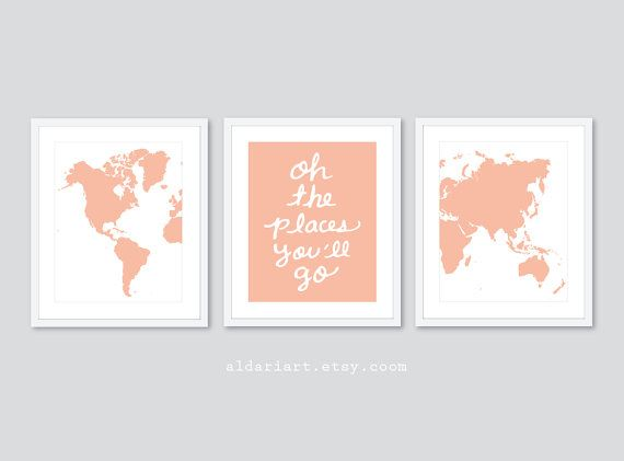 World Map Travel Nursery Art Prints  Set of 3 Prints  by AldariArt