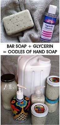 Make liquid soap from a bar of hand soap.