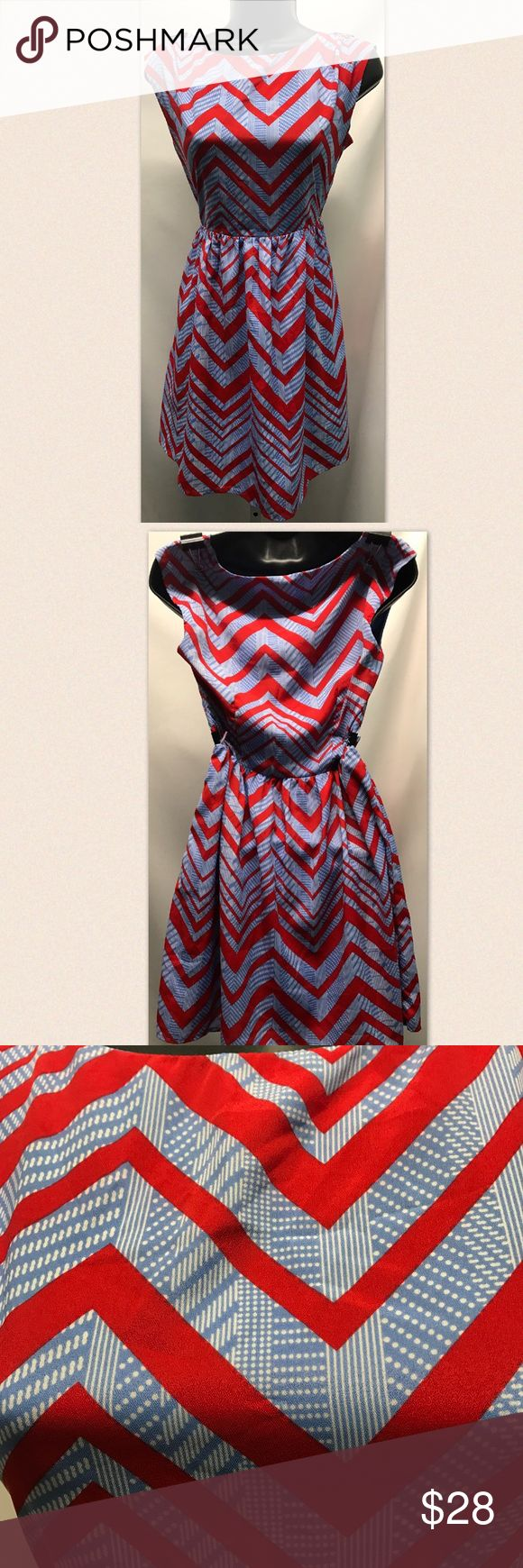 PINK OWL dress NWT Pink Owl silky blue printed boutique dress with red chevron. New with tags, never worn! Pink Owl Dresses