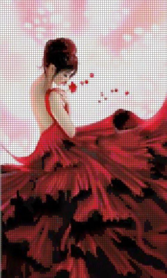 Hobby lavori femminili - ricamo - uncinetto - maglia: Schema punto croce - Donna in rosso
