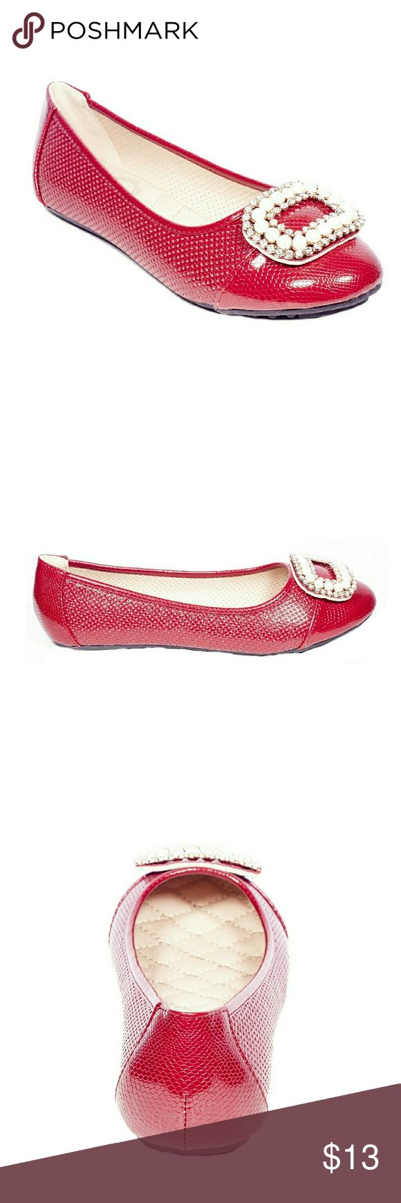 ONE Tory K Perforated Buckled Flats, b-2055, Red Brand new Victoria K perforated ballerina flats with a stylish stone-studded oversized buckle in the front. From the ONE collection. Soft cushioned sole, very comfortable, true to size. Bubbled bottom sole for extra traction. Tory K  Shoes Flats & Loafers