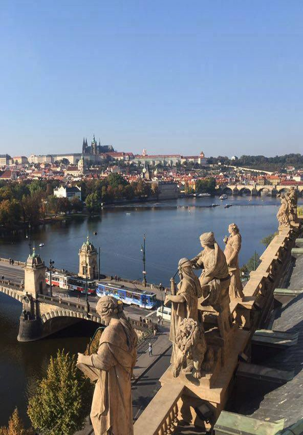 Prague castle from the roof of National Theater, Prague, Czechia