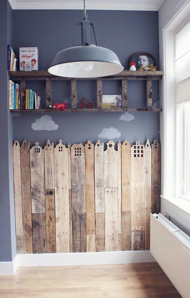 "Pallet wall - this is a very similar shade I picked for my office walls. Wouldn't do the ornate carving of the ""houses,"" but I like the idea of a shelf made from pallet planks."