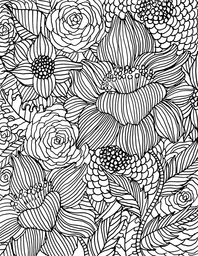 456 best Floral Coloring Pages for Adults images on Pinterest ...