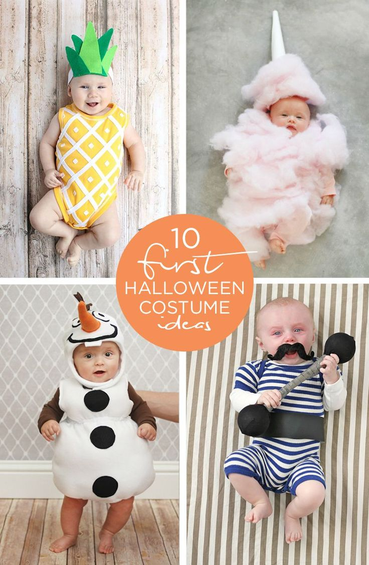 "These 10 First Halloween Costume Ideas for babies are scary cute. Whether your sweet one is more fitting as a pretty pineapple, cute cotton candy, or outgoing Olaf, these inspirational looks are bound to have family, friends, and neighbors ""oohing"" and ""ahhing"" with delight."
