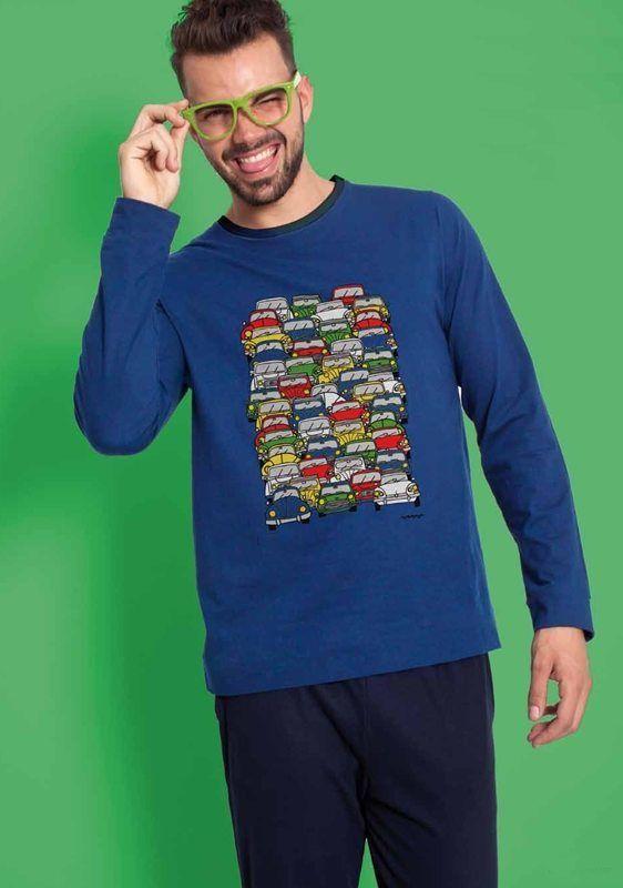 Pijama Cállate la Boca atasco - REf: 58657 Azul - Pijama juvenil en algodón fino de manga larga y pantalón largo, para usar perfectamente durante todo el año. #hombre #modahombre #ropainterior http://www.varelaintimo.com/marca/5/callate-la-boca