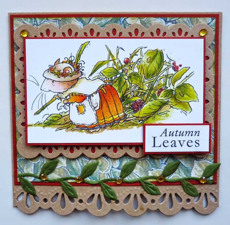Crafter's Companion -Brambly Hedge Autumn Stamp and Sentiment Die'sire Lace Border 4 and Grace Frame dies. Leaf paper from Flower Fairies CD. Kraft and Orange Cardstock. Leaf shaped ribbon and gold coloured gems. Spectrum Noir pens - TN2, FS6, FS2, TN7, GB8, GB5, DR7, CR10, CG1, CG2, DG3, EB1, EB2. Spectrum Noir Pencils - 59, 56, 57, 19, 23, 14, 08