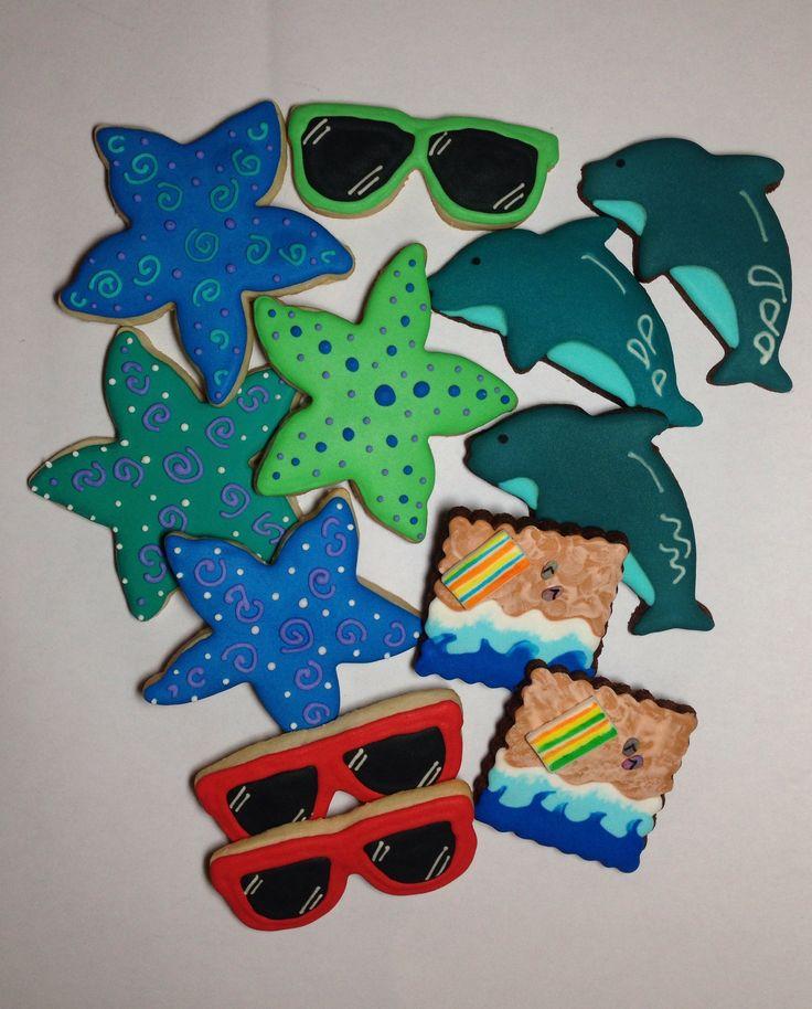 Summer collection. Starfish, dolphin, sunglasses, ocean wave w/beach towel.
