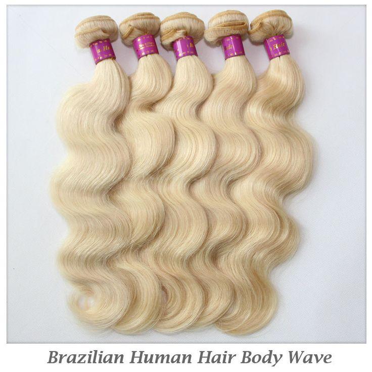 Rosa Для Волос Bleach Блондин Цвет Бразильский Weave Волос #613 Объемная Волна Ху человек Волос DHL Бесплатно доставка