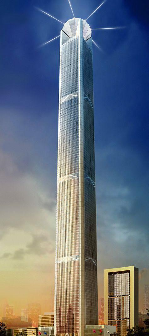570 meters/1870 feet/117 floors; China 117 Tower (Tianjin, China)