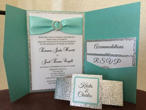 Teal wedding invitation-Robins egg wedding invitation suite-Aqua Wedding Invitation with rhinestone slider and ribbon-Quinceanera invitation