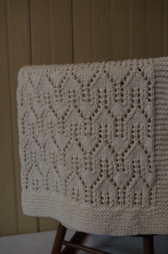 Organic Baby Blanket: Heirloom Quality House Lace Hand Knit Baby Blanket, 100% Organic Un-Dyed Cotton - MADE TO ORDER