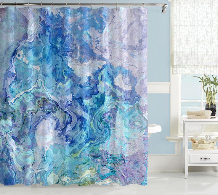 Abstract art shower curtain, aqua blue shower curtain, Cloud Nine