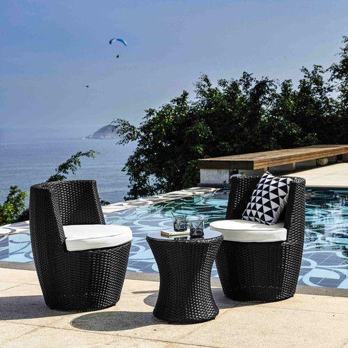 Tavolo nero da giardino + 2 poltrone nere in resina intrecciata D 64 cm