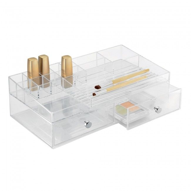 Store all your cosmetics in a handy InterDesign Clarity 2-Drawer Cosmetic Organizer. Multiple storage compartments make it easy to organize all your cosmetics.