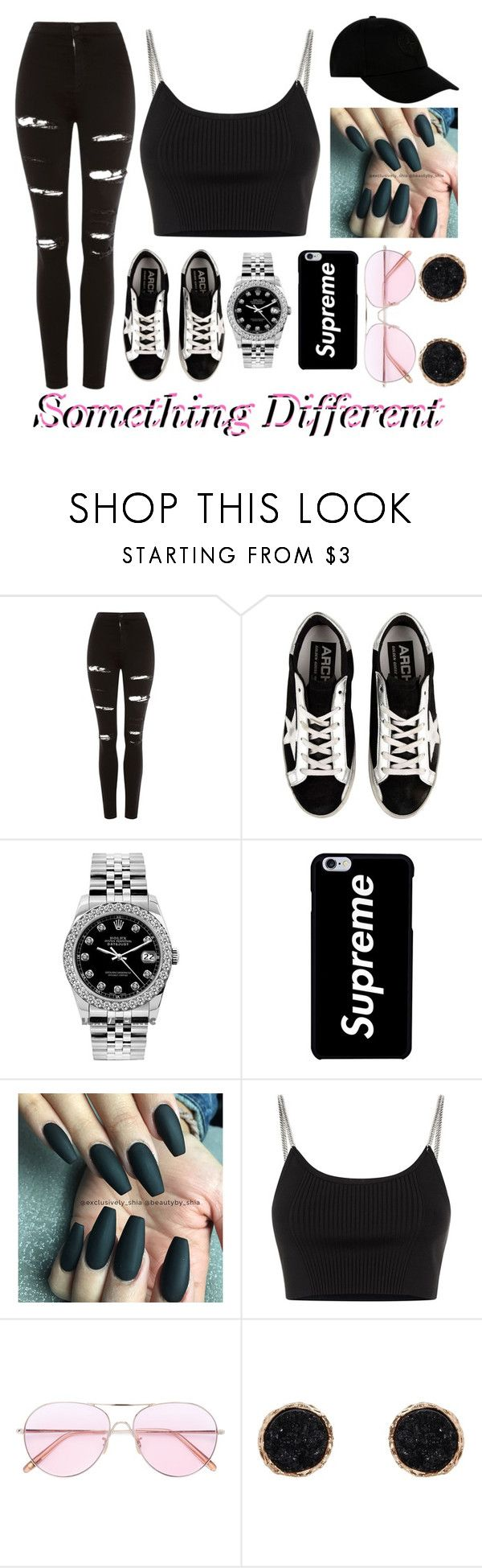 """""""Something Different❤"""" by emmamarais ❤ liked on Polyvore featuring Topshop, Golden Goose, Rolex, Alexander Wang, Oliver Peoples, Humble Chic and STONE ISLAND"""