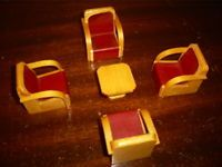 Vintage Dolls House * 1/16th scale  *  Art Deco Chairs & Table * Wooden Set
