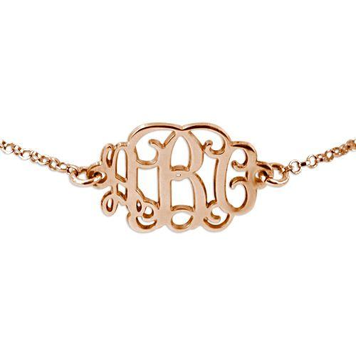 18k Roos Goud vergulde Monogram armband | Moncollierprenom