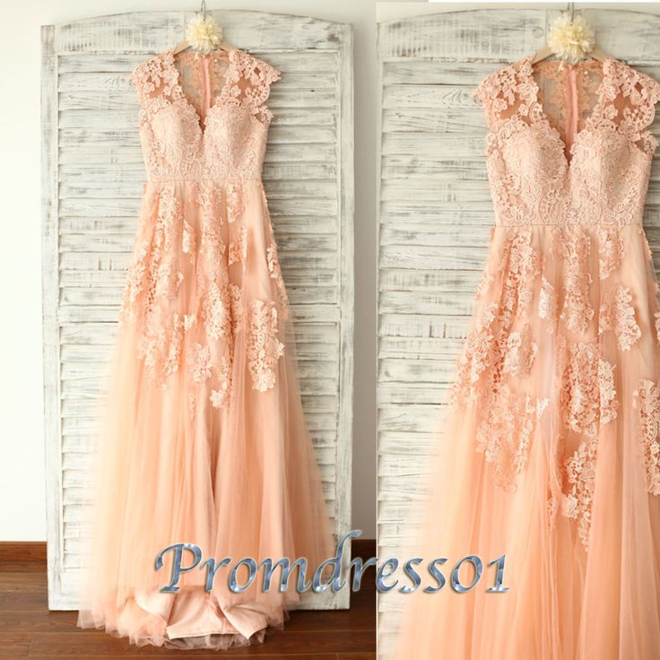 2015 cute v-neck pink vintage lace long prom dress for teens, ball gown, evening dress, bridesmaid dress, winter formal #promdress #wedding #coniefox