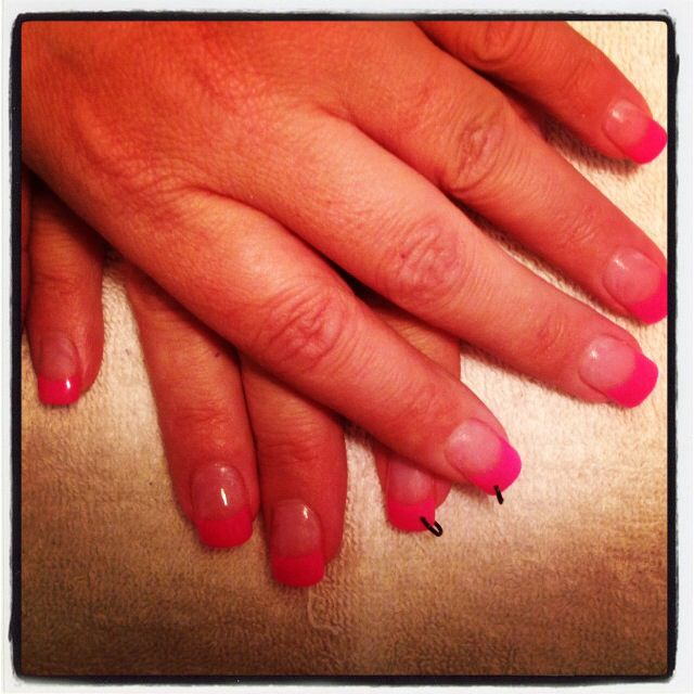 Pink French with nail piercing