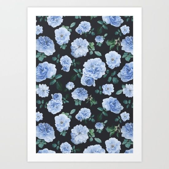 Blue vintage roses pattern, photographed and designed on a grey background. Romantic and lovely!