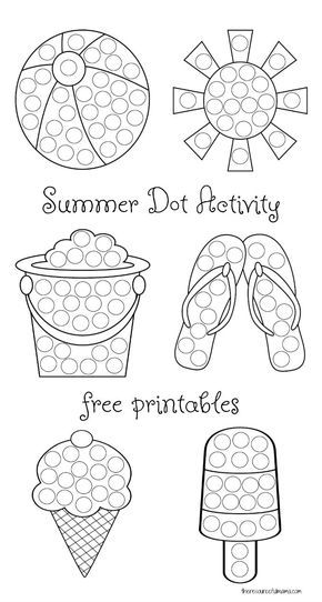 Keep kids busy this summer with these summer dot painting worksheets. These summer dot activity printables work great with do a dot markers and dot stickers. They help kids build fine motor and hand eye coordination.