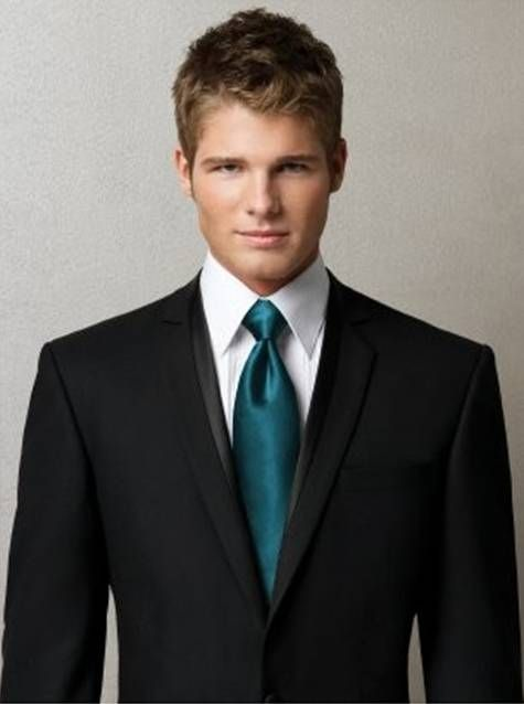 mens suit and teal tie. He said he wanted a black suit, (where I said I wanted a grey one,) but he would look so macho and gorgeous in this...
