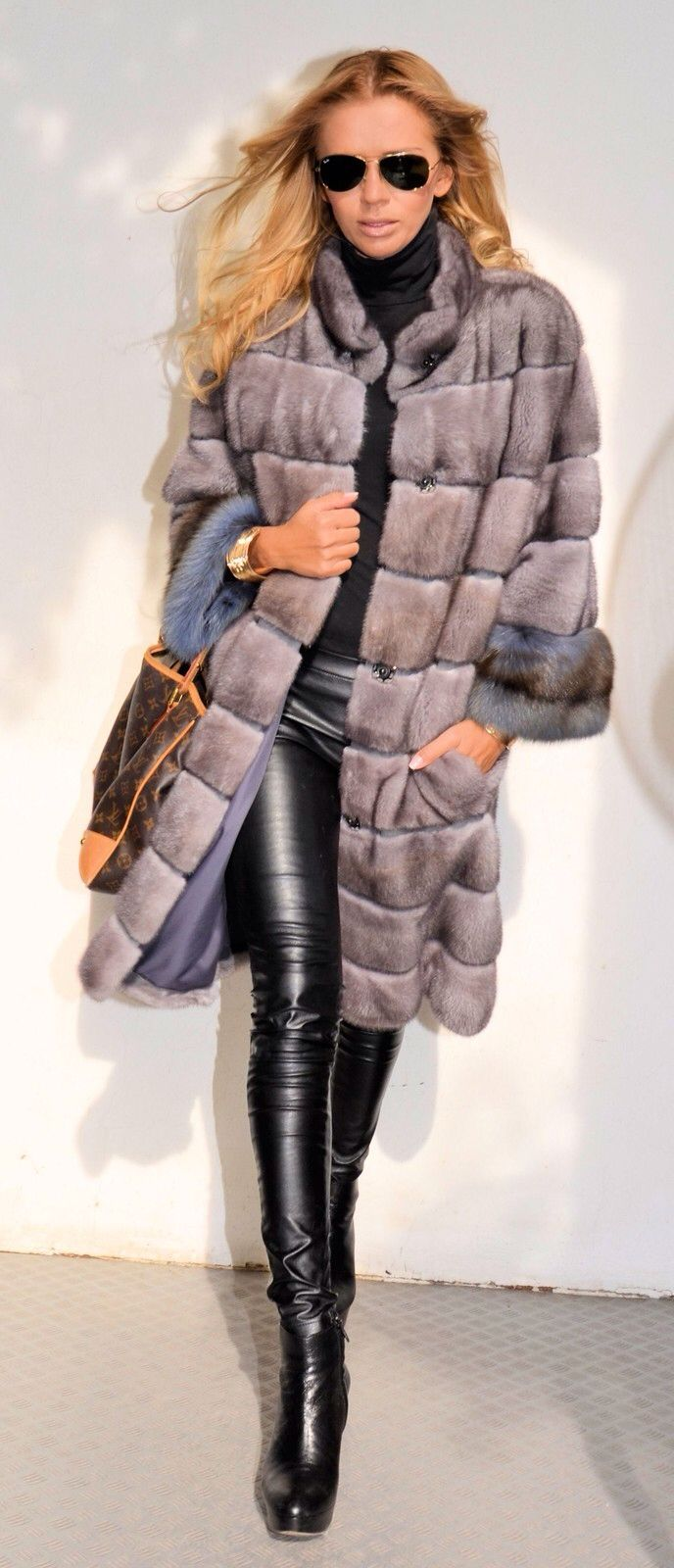 Dyed Mink Fur Coat with Multi Dyed Sable Fur Trim