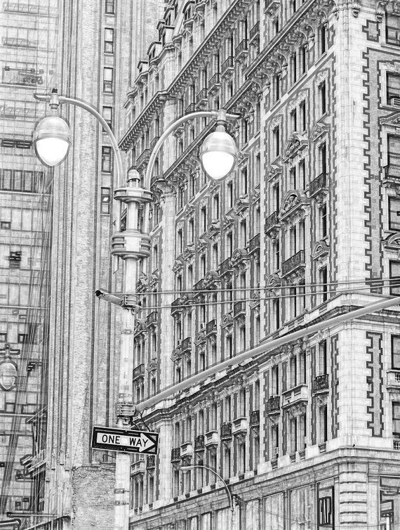 New York City City View II  Sketch 8x10 Abstract Drawing by ddfoto,