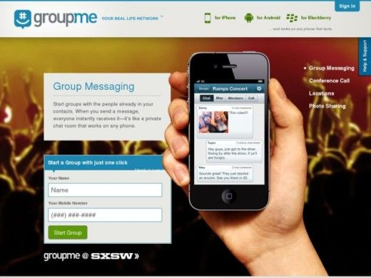 APP EM GRUPOS GroupMe website