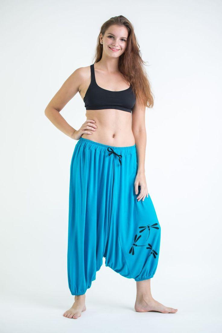 Drawstring Low Cut Harem Pants Cotton Spandex Printed Dragonflies Blue
