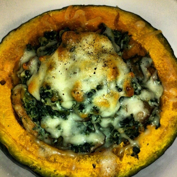 Buttercup Squash With Spinach, Mushrooms And Turkey