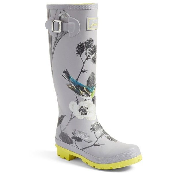Women's Joules 'Field Welly' Rain Boot ($75) ❤ liked on Polyvore featuring shoes, boots, silver, wellington boots, striped boots, buckle boots, rain boots and rubber boots