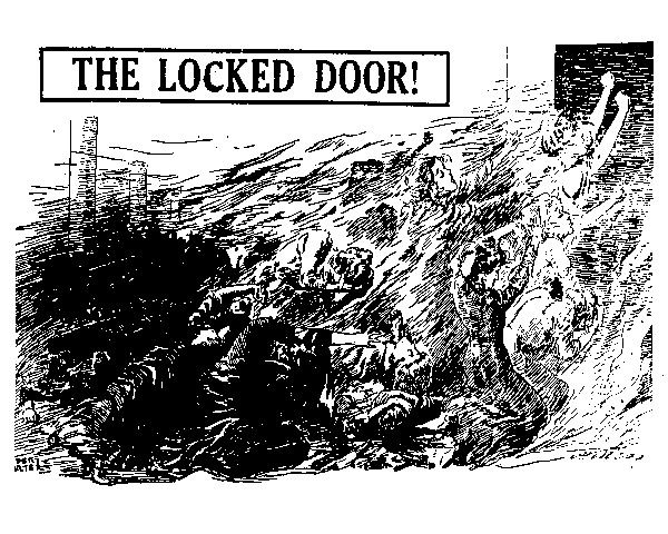 An illustration depicts the many women unable to escape the Triangle factory during the fire. Triangle kept the doors locked during the work day to prevent women from leaving early or taking breaks.