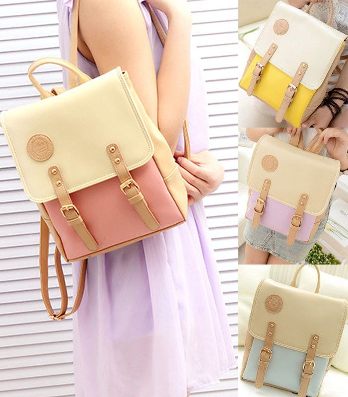 NEW Chic College Fashion Girl Student Faux Leather Backpack School bag Bookbags