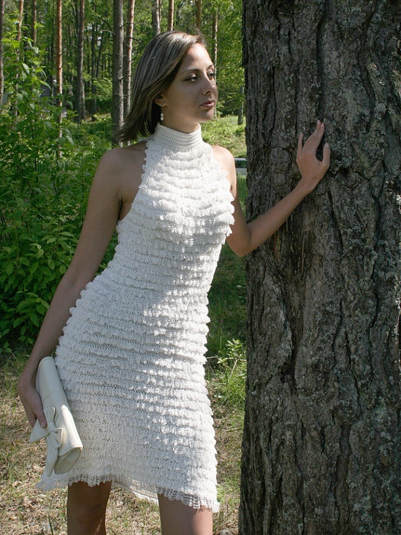 Spring Fashion Hand knitted white dress READY To by sprincegita, $335.00