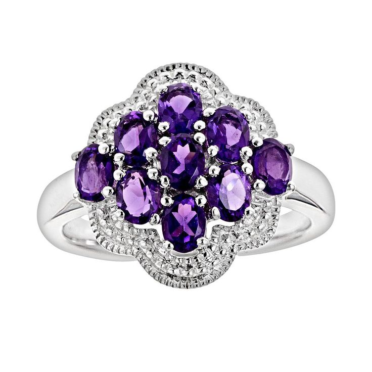 Sterling Silver African Amethyst Cluster Ring, Women's, Size: 5, Purple