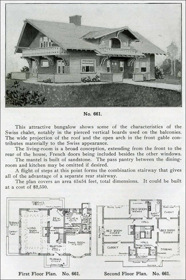 """Design No. 661 from """"THE BUNGALOW BOOK"""" BY HENRY WILSON (1910). Swiss chalet-style bungalows are characterized by widely projecting roofs of medium pitch and balconies and porches with pierced patterns between the vertical boards as seen in No. 661. The balconies project and are supported by ornate paired brackets. On the facade of this house, there is an inset dormer with an arch that """"contributes materially to the Swiss appearance."""""""