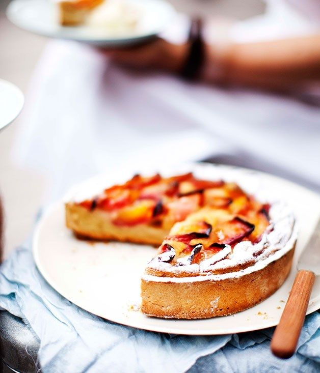 Australian Gourmet Traveller recipe for Nectarine and frangipane tart by Dietmar Sawyere