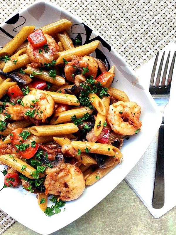 Skillet Toasted Penne with Cajun Shrimp. A cream-less creamy #pasta.Yes it is possible!
