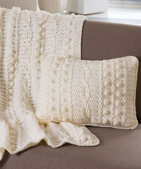 [Free Pattern] Amazing Afghan And Matching Pillow Embellished By Popcorn And Twist Stitches - Knit And Crochet Daily