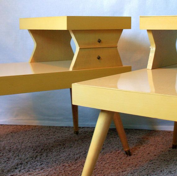 ATOMIC END TABLES Vintage 50s Mid Century Modern Blonde 2 Tiered End Table Set Retro Geometric Living Room Furniture