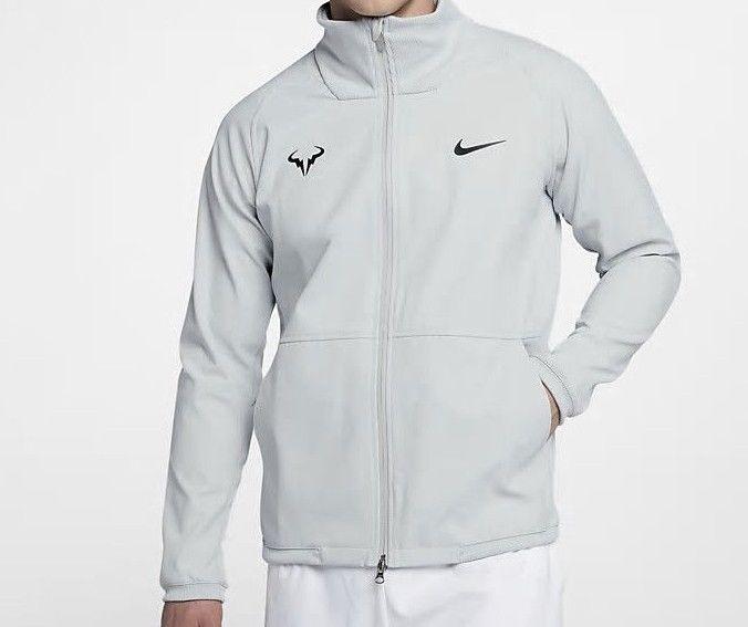Nike Court Rafa Nadal Tech Jacket Mens L Pure Platinum Black 887551 043 Nike Trackjacket Nike Mens Jackets Nike Men