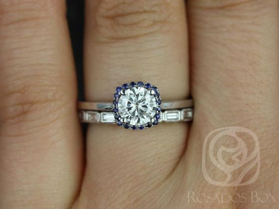 Bella 6mm & Rihani 14kt FB Moissanite, Sapphire, Diamond Cushion Halo Wedding Set (Other metals and stone options available)