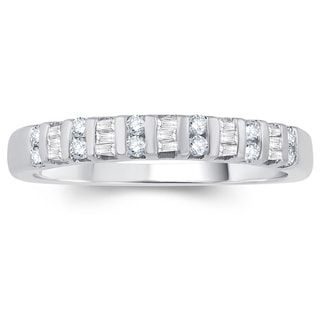 Shop for 10K White Gold 1/4ct TDW Round & Baguette Diamond Anniversary Band (White). Get free delivery at Overstock.com - Your Online Jewelry Shop! Get 5% in rewards with Club O! - 19882003